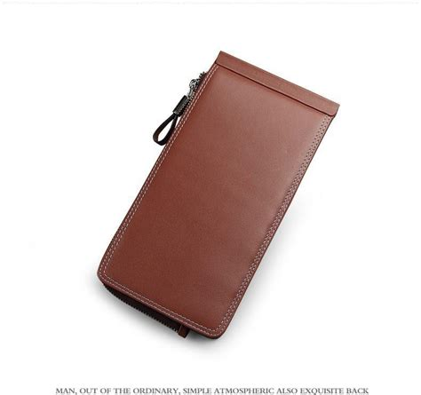 long type genuine leather business credit card holder