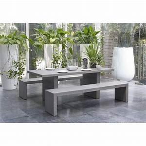 Salon De Jardin Aspect Bton Table 200x90x75cm 2 Bancs