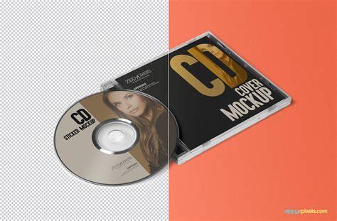 free cd cover free cd label sticker mockup zippypixels