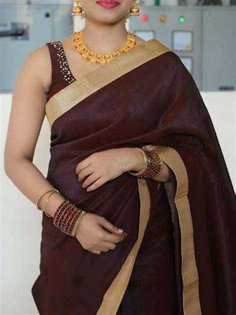 Saree blouse neck designs elegant saree saree models kerala saree blouse designs blue silk saree saree product details: Stylish Coffee Color Latest Silk Saree With Blouse Piece - DSS135