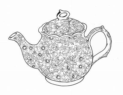 Coloring Teapot Printable Tea Pages Adult Clip