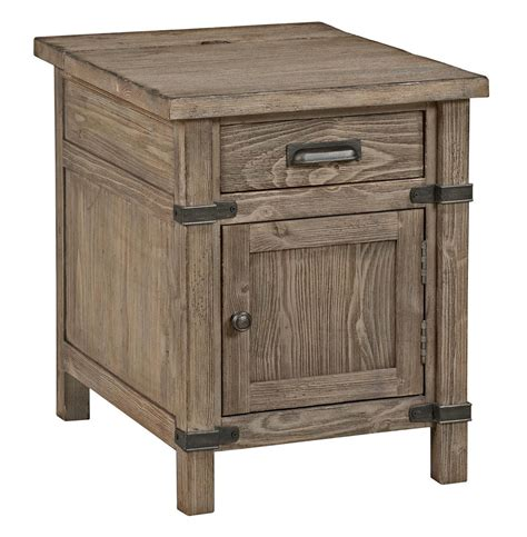 end tables with built in outlets kincaid furniture foundry rustic weathered gray chairside