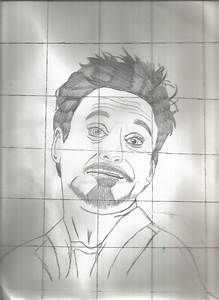 Tony Stark Drawing Without Color With Grid By