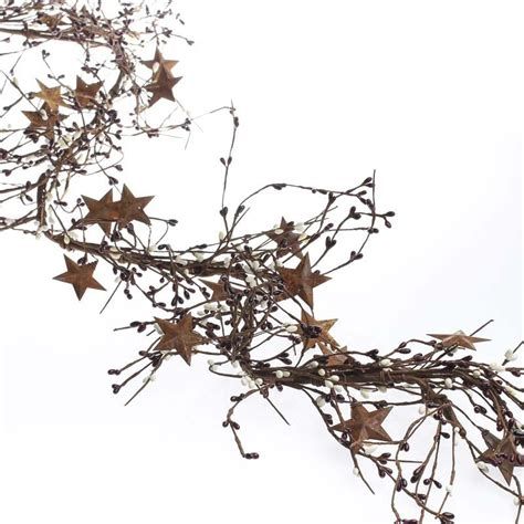 rusty tin stars and pip berry garland pip berries