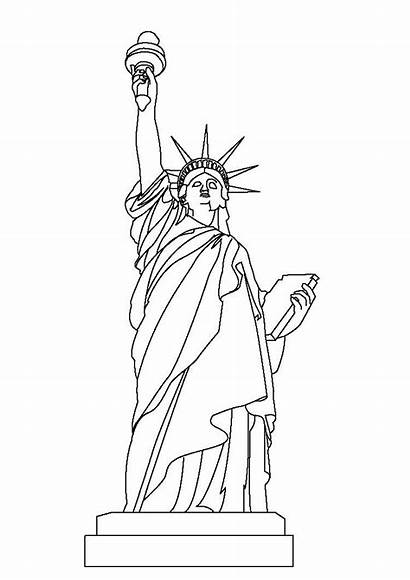 Liberty Statue Coloring Pages Drawing Printable Usa