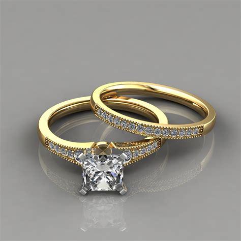Lab Diamonds Princess Cut Graduated Milgrain Bridal Sets Rings