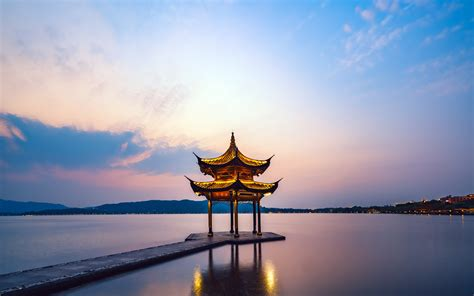 hangzhou west lake tourism sunset rest pavilion preview