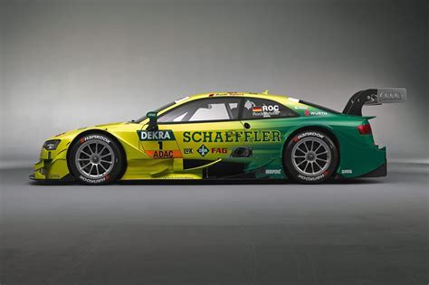 audi rs  dtm race car side photo yellow green