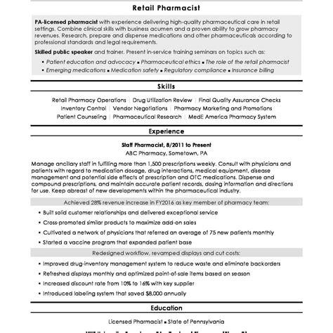 Retail Pharmacist Resume by 11 12 Retail Pharmacist Resume Exles