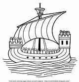 Ship Ancient Coloring Sail Ocean Bible Sailors sketch template