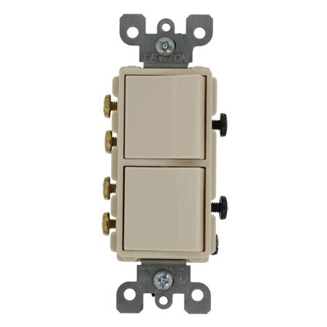 leviton 20 decora commercial grade combination two 3 way rocker switches light almond 5640