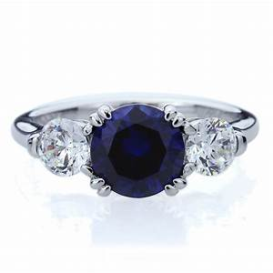 8mm silver 2ct simulated blue sapphire 3 stone wedding With silver wedding anniversary rings