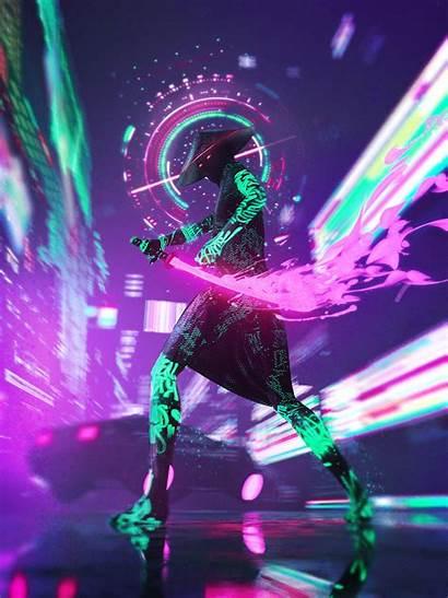Neon Cyberpunk Samurai 4d Cinema Futuristic Vertical