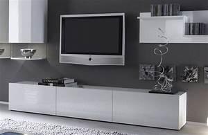 Meuble Bas Blanc Laqué : meuble tv bas long blanc ~ Edinachiropracticcenter.com Idées de Décoration