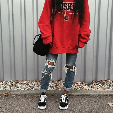Jeans tumblr red sweater sweatshirt denim blue jeans ripped jeans sneakers black ...