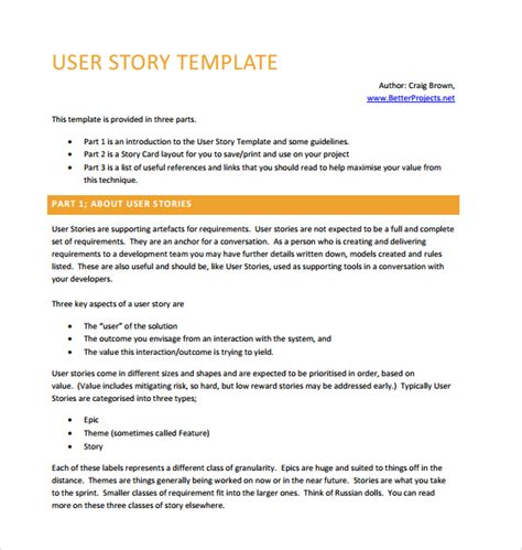 user story template 9 user story templates pdf excel sle templates