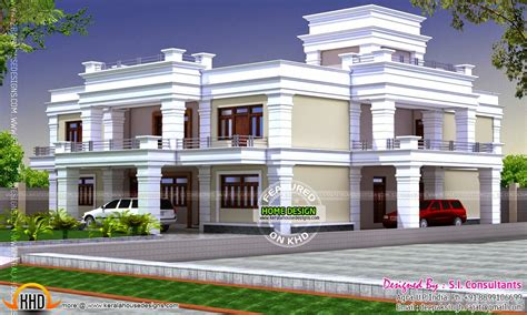 decorative flat roof house kerala home design  floor