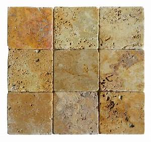 Gold classic tumbled travertine mosaic tiles 4x4 stone for Tumbled travertine backsplash tile
