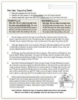 main idea details practice page ela literacy topic sentences teaching 6th grade main