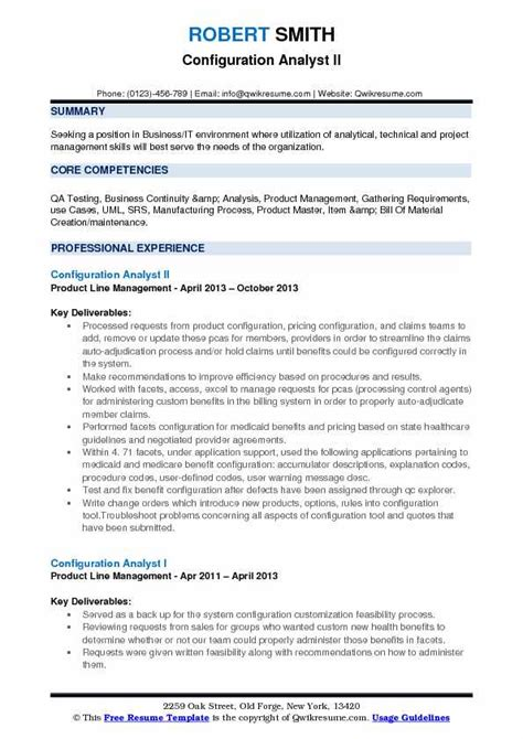 Resume Creation Pdf by Configuration Analyst Resume Sles Qwikresume