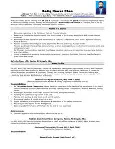 Mechanical Technician Resume Latest Resume Format