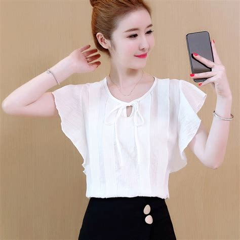 Efinny Sweet Stylish O Neck Knot Tie Blouse Buttefly