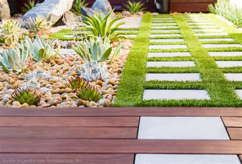 artificial grass ipe wood deck contemporary garden