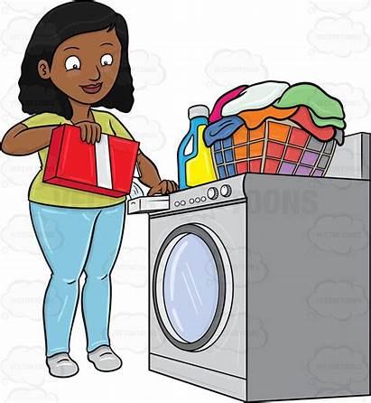 Laundry Clipart Laundromat Doing Washer Cartoon Detergent