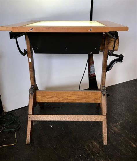 drafting table with lightbox rare hamilton lightbox drafting table and drawer cast iron