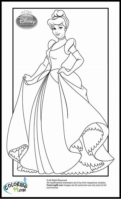 Coloring Princess Disney Pages Cinderella Printable Princesses