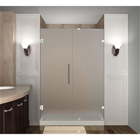 frosted shower doors aston nautis 45 in x 72 in completely frameless hinged