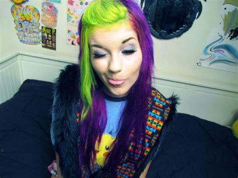 Purple And Lime Green Hair Saw Something Like This Today