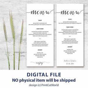 printable menu card 4x9 rustic wedding menu template With free printable wedding menu card templates