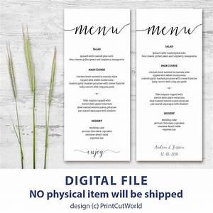 printable menu card 4x9 rustic wedding menu template With free printable menu cards templates