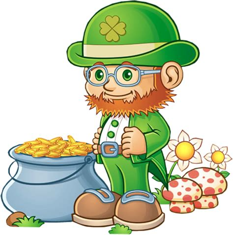 leprechaun and pot of gold clipart