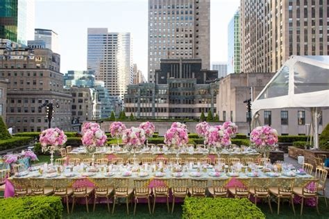 beautiful rooftop rehearsal dinner overlooking new york