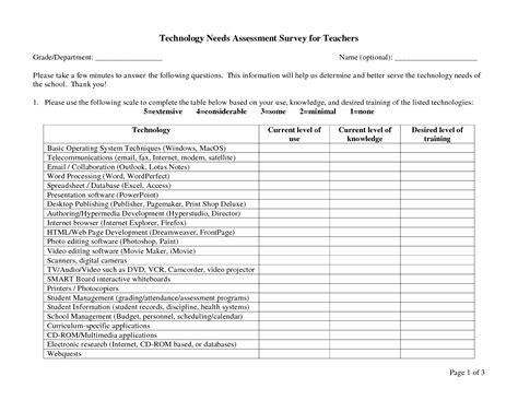 Needs Assessment Template Technology Needs Assessment Template Besttemplatess123