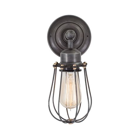 retro industrial cage wall sconce in vintage dark pewter