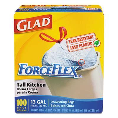 Glad Drawstring Forceflex Tall Kitchen Bags, 13 Gal