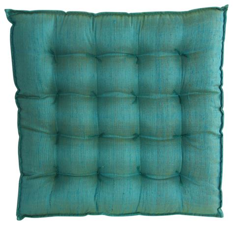 blue silk seat cushion traditional seat cushions by