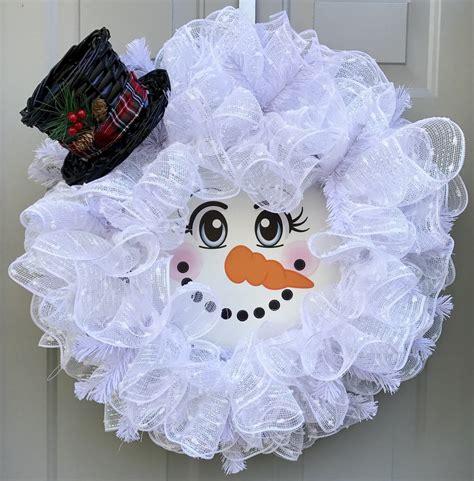 snowman deco mesh wreath christmas wreath red  white