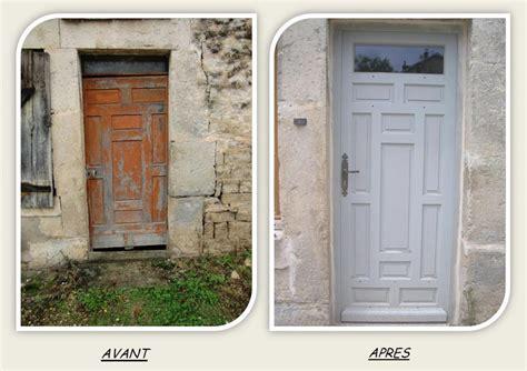 renovation de cuisine en chene porte entree principale cadre peinture restauration