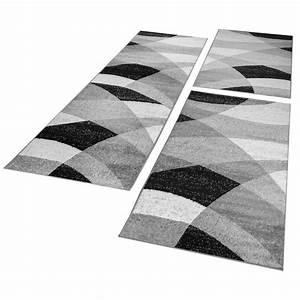 Tapis Gris Blanc : tour de lit tapis de couloir tapis g om trique chin gris blanc noir 3 pi ces tapis cadres de lit ~ Teatrodelosmanantiales.com Idées de Décoration