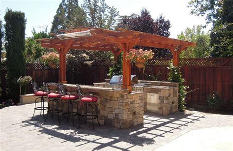 outdoor kitchen pergola ideas bamboo shades outdoor kitchen with pergola 2377 hostelgarden net