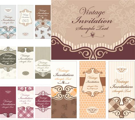Vintage invitations vector Free Stock Vector Art