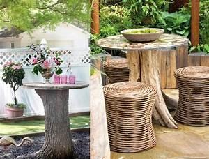 Tisch Aus Holzscheiben : outdoor tisch aus massiven baumstamm und runder tischplatte diy home gartendeko selber ~ Cokemachineaccidents.com Haus und Dekorationen