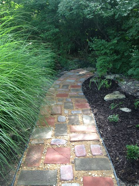 path ideas diy garden path on a budget recycled pavers left over quick crete and less than 50 cash and