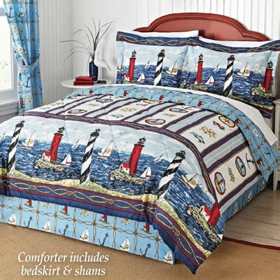 nautical bar harbor lighthouse comforter set from