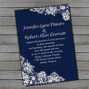 exquisite navy blue lace wedding invitation EWI264 as low