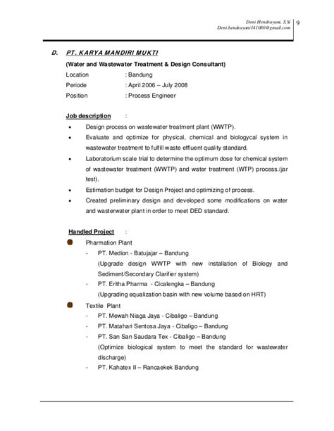 Wastewater Treatment Process Engineer Resume by Resume Cv Deni Hendrayani